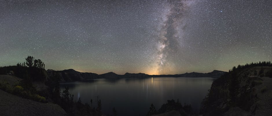 Astronomy cosmos crater lake national park dawn