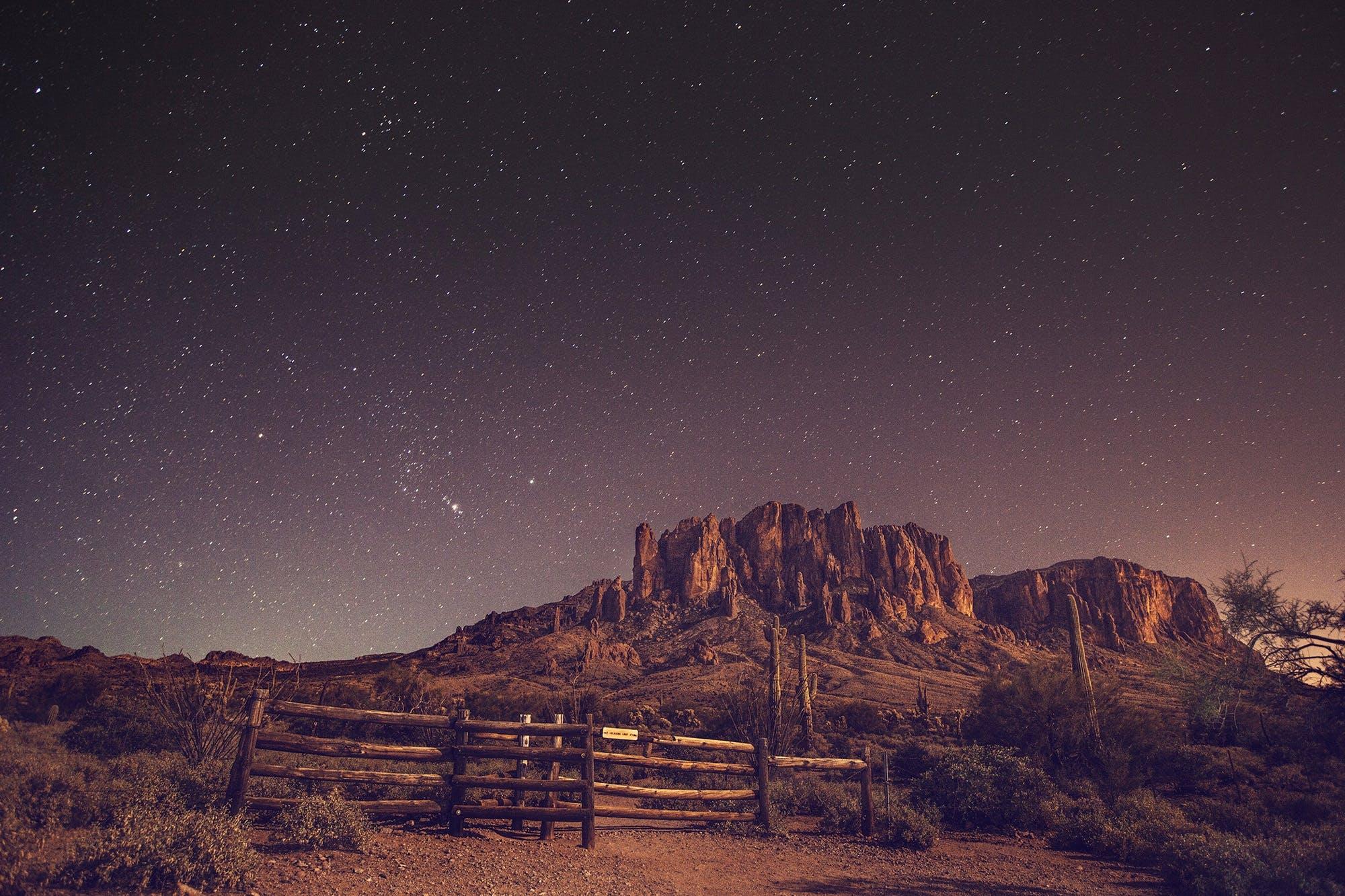 Kostenloses Stock Foto zu abend, astronomie, bäume, berg