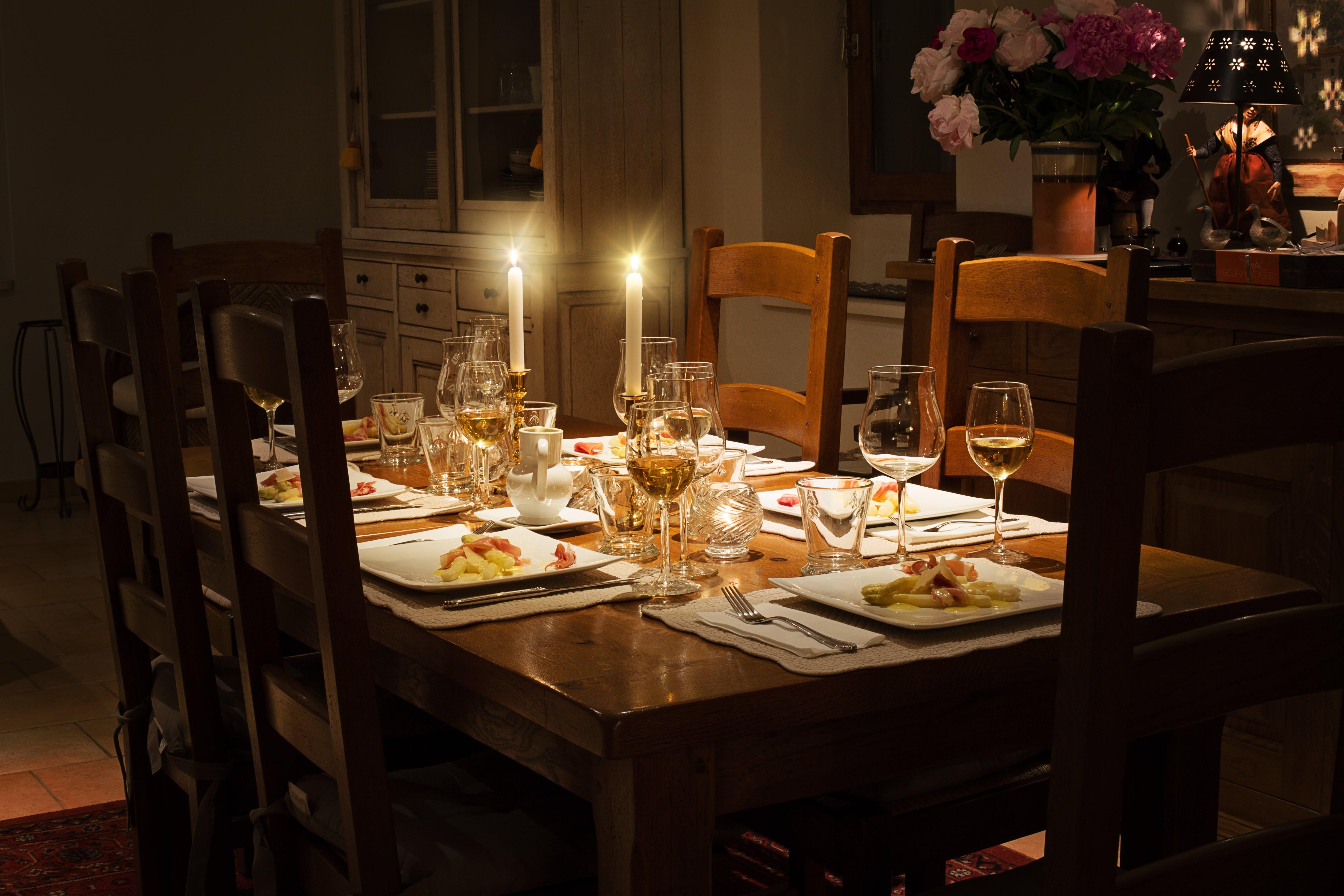 Dinnerware Set on Brown Wooden Table