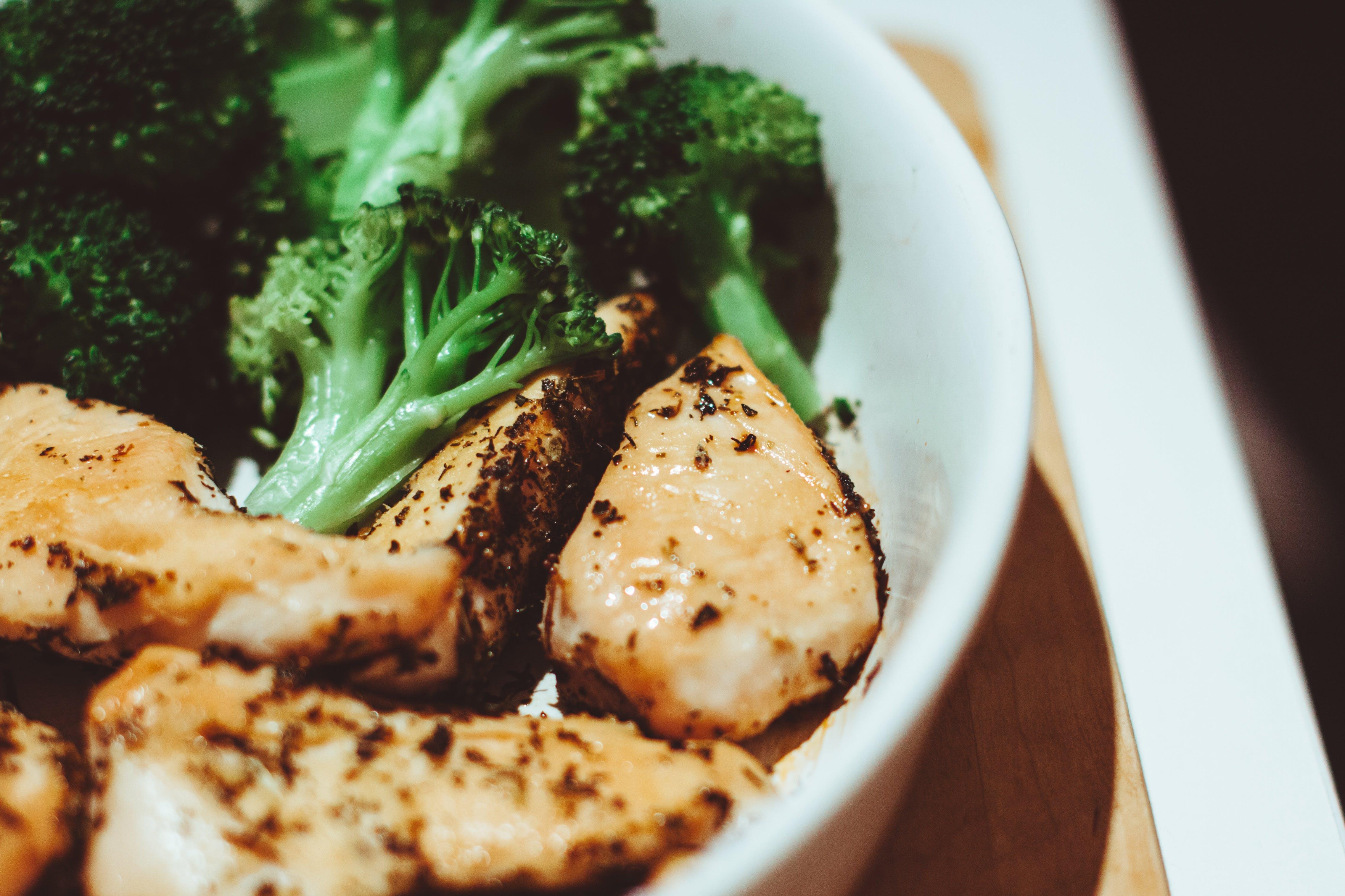 broccoli, chicken, close-up