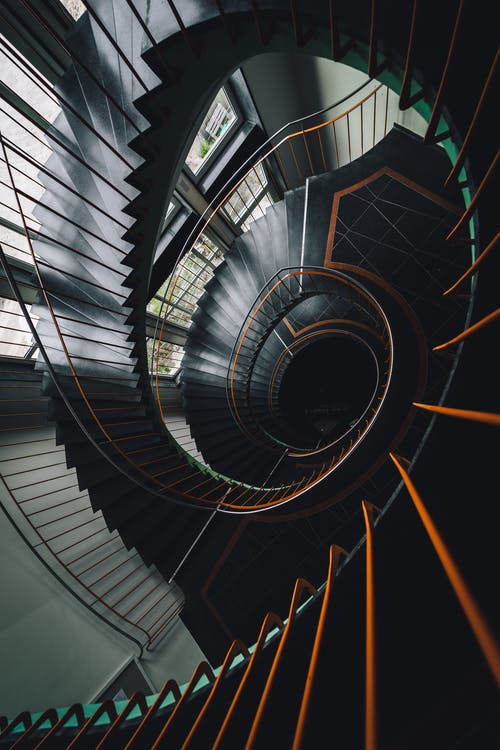 Black and Yellow Spiral Staircase