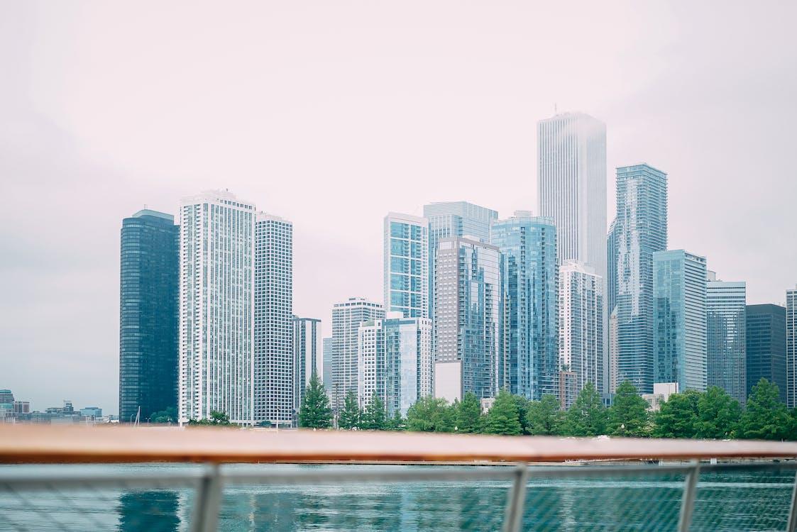 các tòa nhà, cảnh quan thành phố, cây