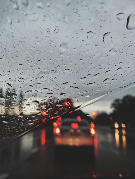 Close-up Of Raindrops On The Windshield