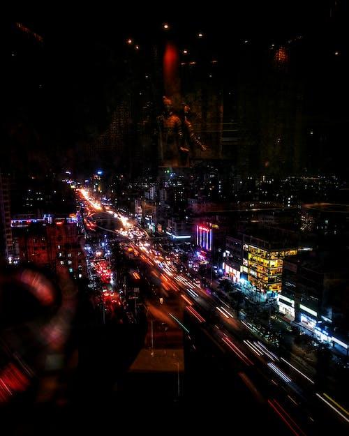 Imagine de stoc gratuită din culoare puternică, expunere dublă, fotografie de noapte, fotografie de stradă