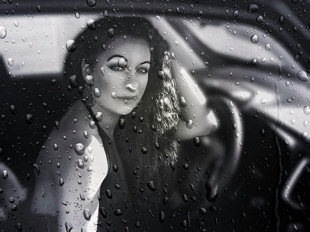 auto, černobílá, déšť