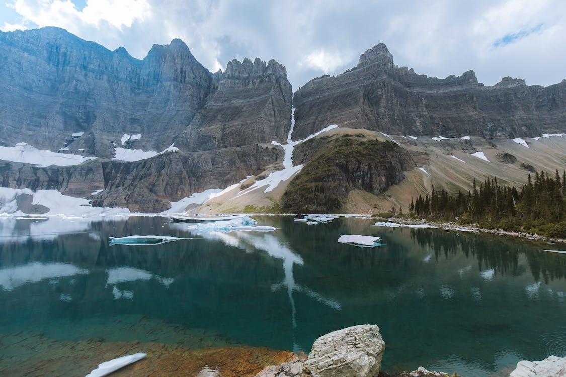 chladný, hora, jazero