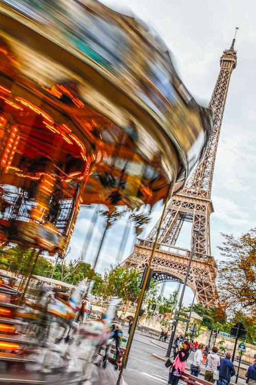 Free stock photo of carousel, eiffel tower, paris