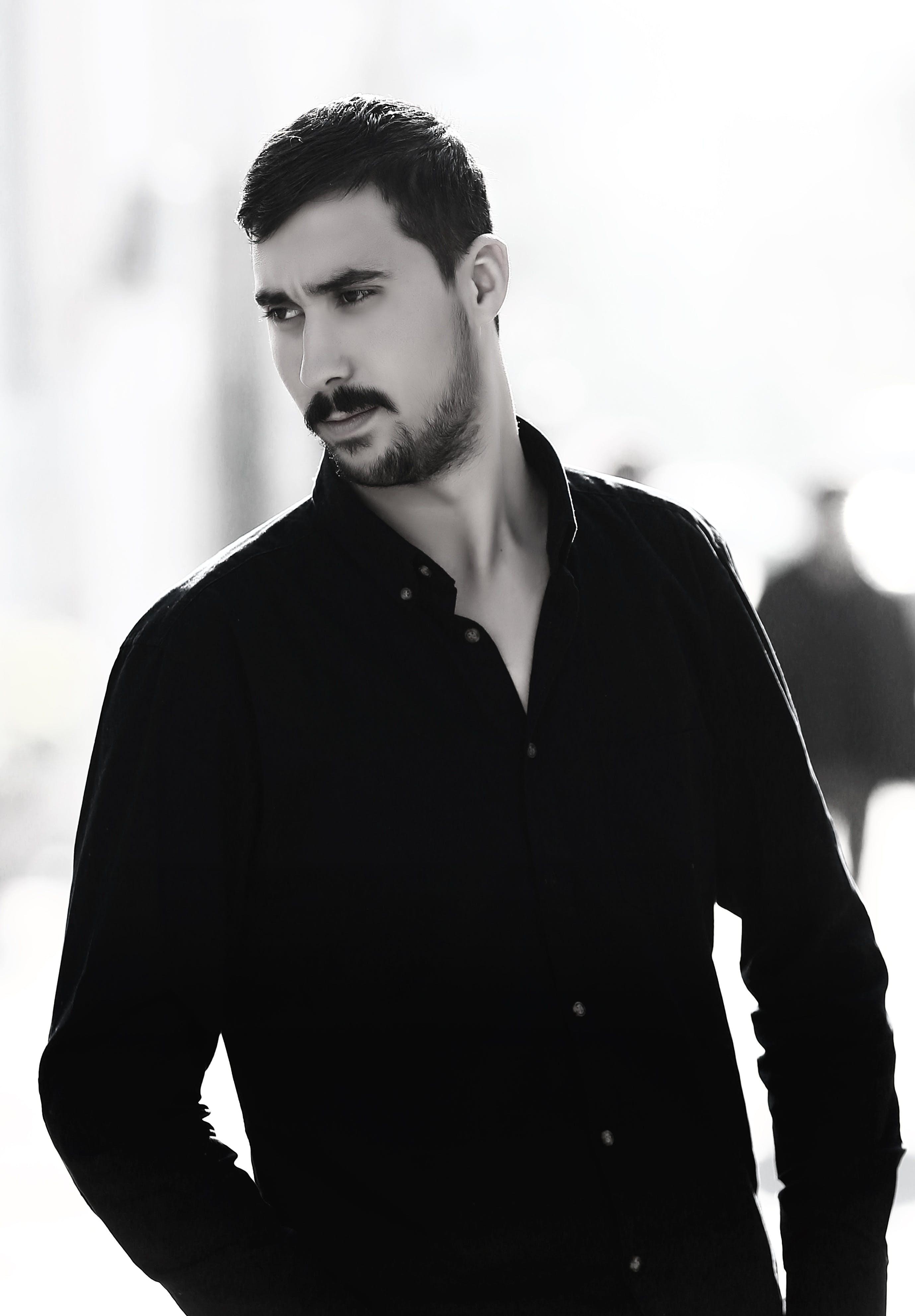 beard, black shirt, contact