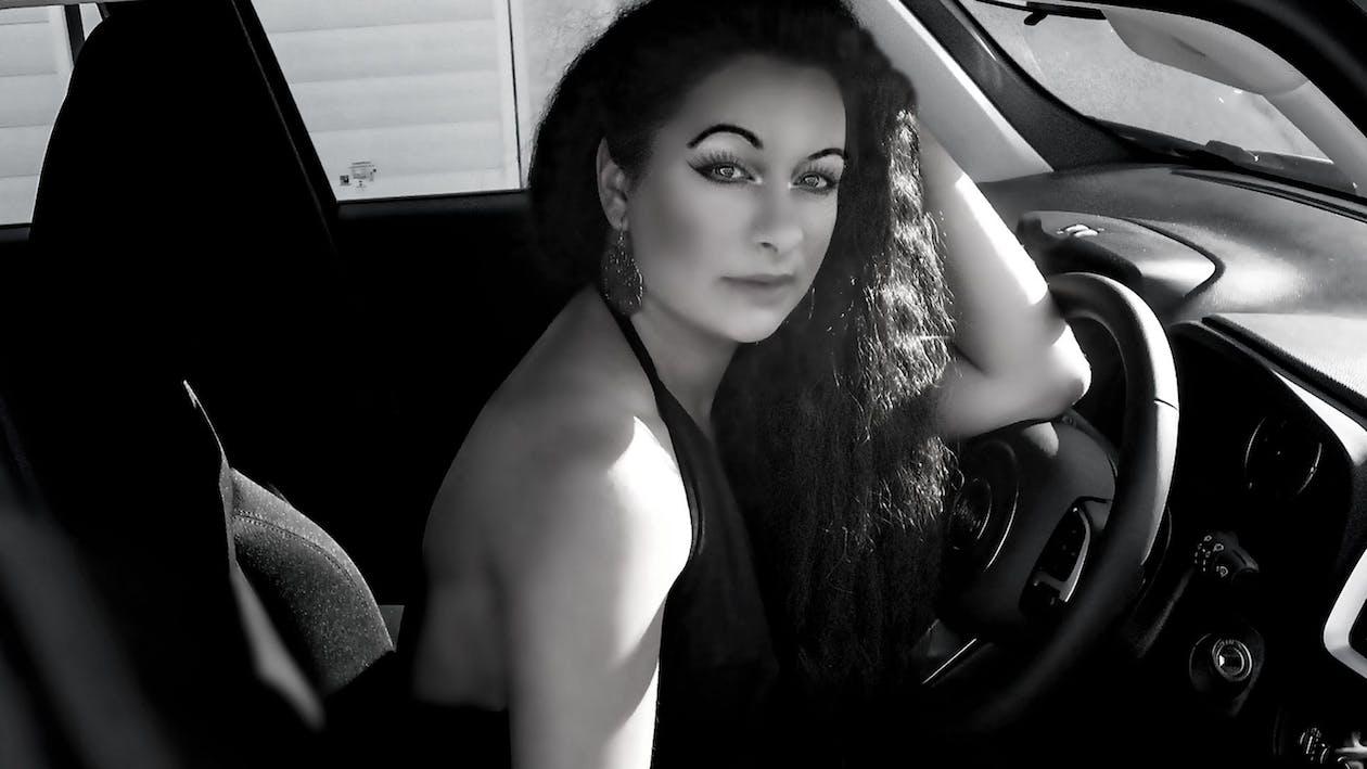 autista, auto, bianco e nero