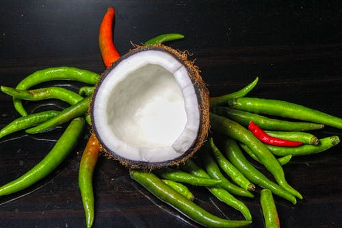 Free stock photo of chillies, coconut, coconut oil