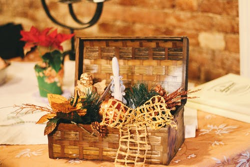 Brown Wicker Basket With Christmas Decors