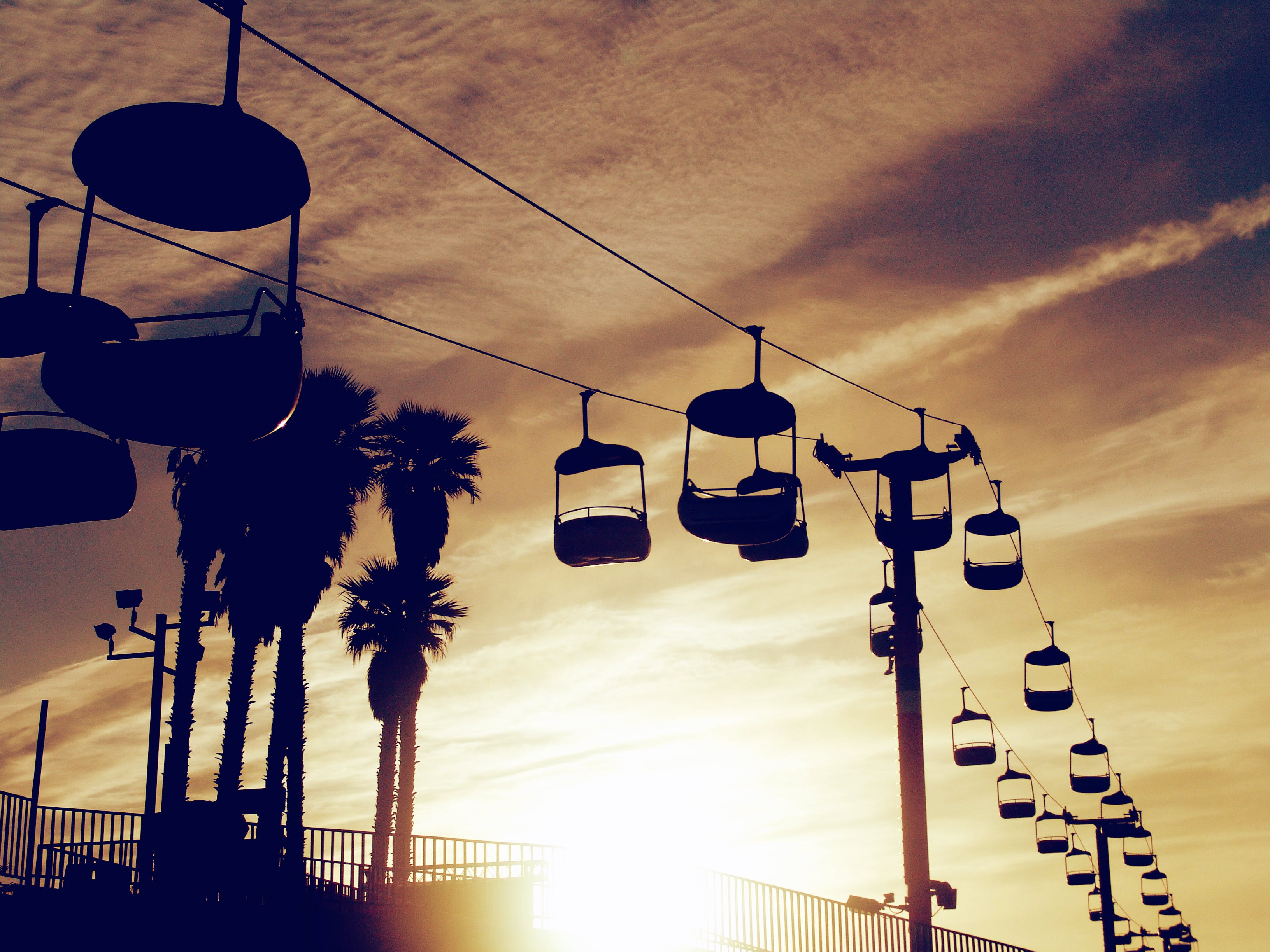 chairlift, dawn, dusk