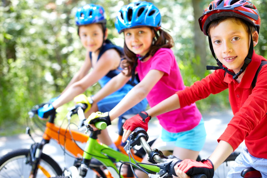 children, cycling, group of children
