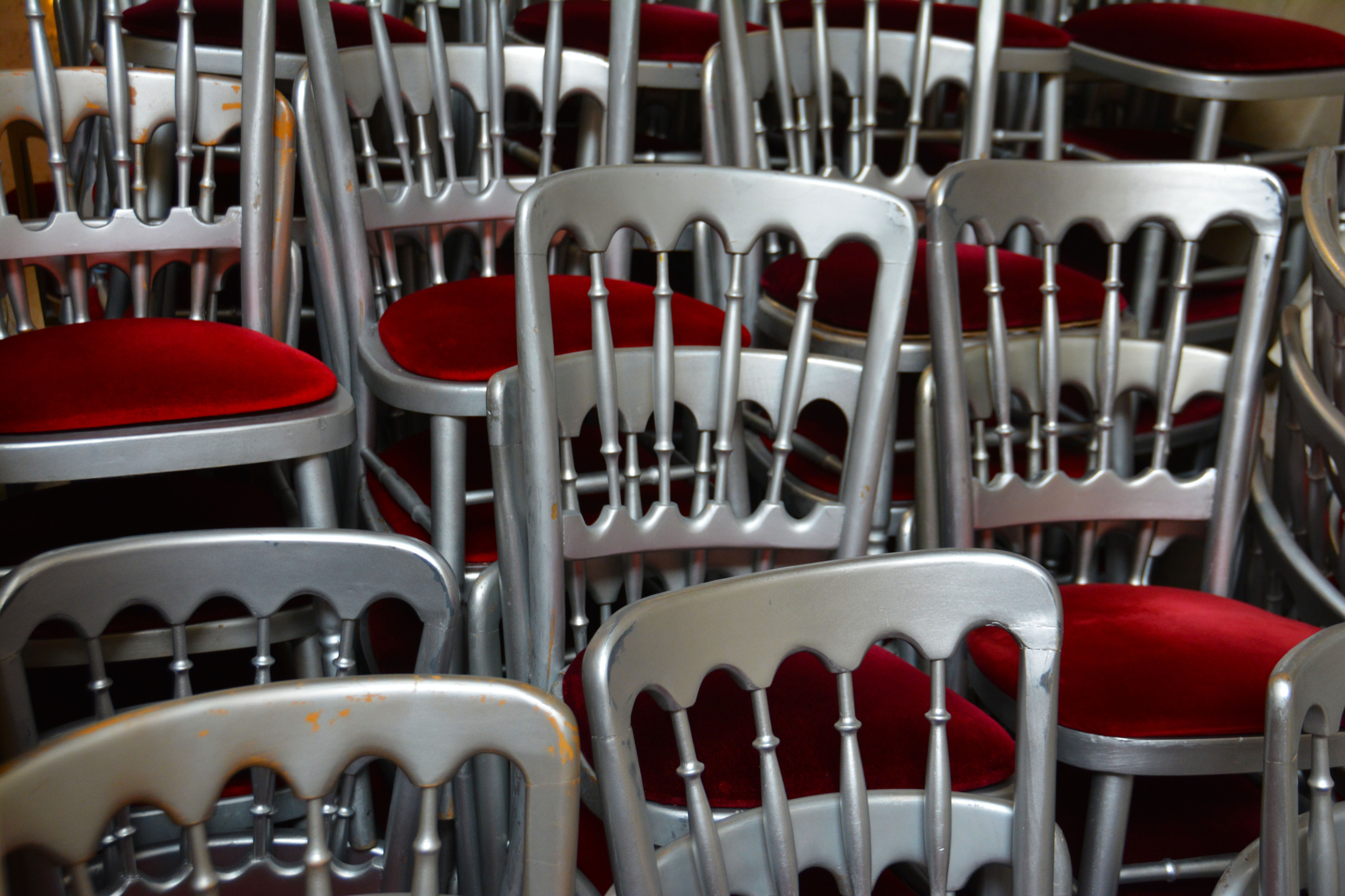Red Fabric Padded Chair Lot
