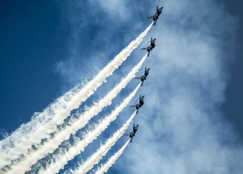 Fighter Planes on Air Show Under Blue Sky