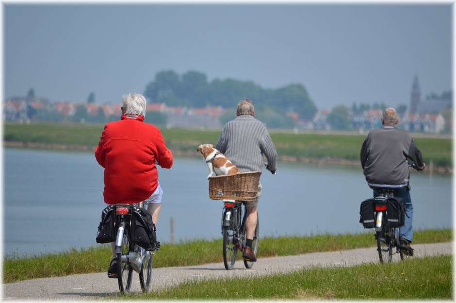 Three Man Riding Bicycles Near Body of Water