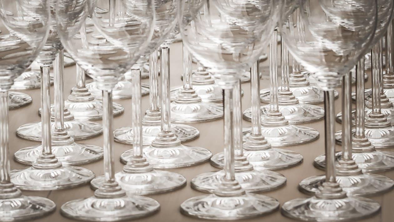 czysty, kieliszki do wina, kryształ