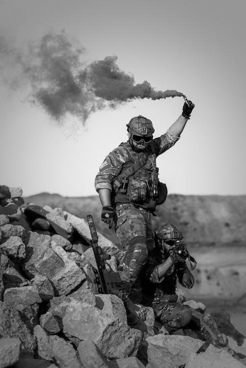 Man Holding Signal Smoke