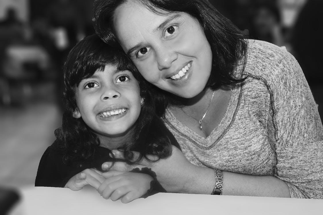 aunt, black-and-white, child