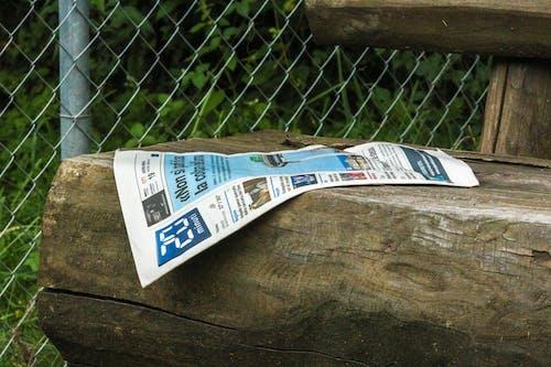 Foto d'estoc gratuïta de abandonat, banc de fusta, diari