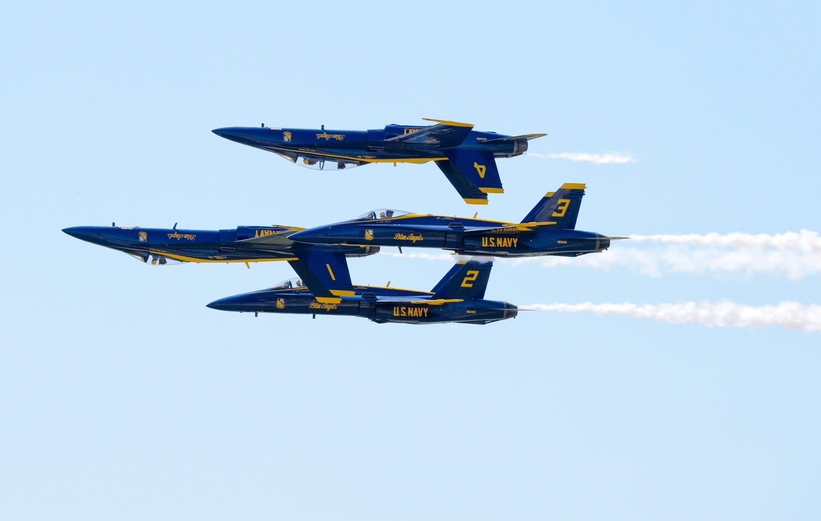 Free stock photo of aerobatics, aircraft, airplanes, blue angels