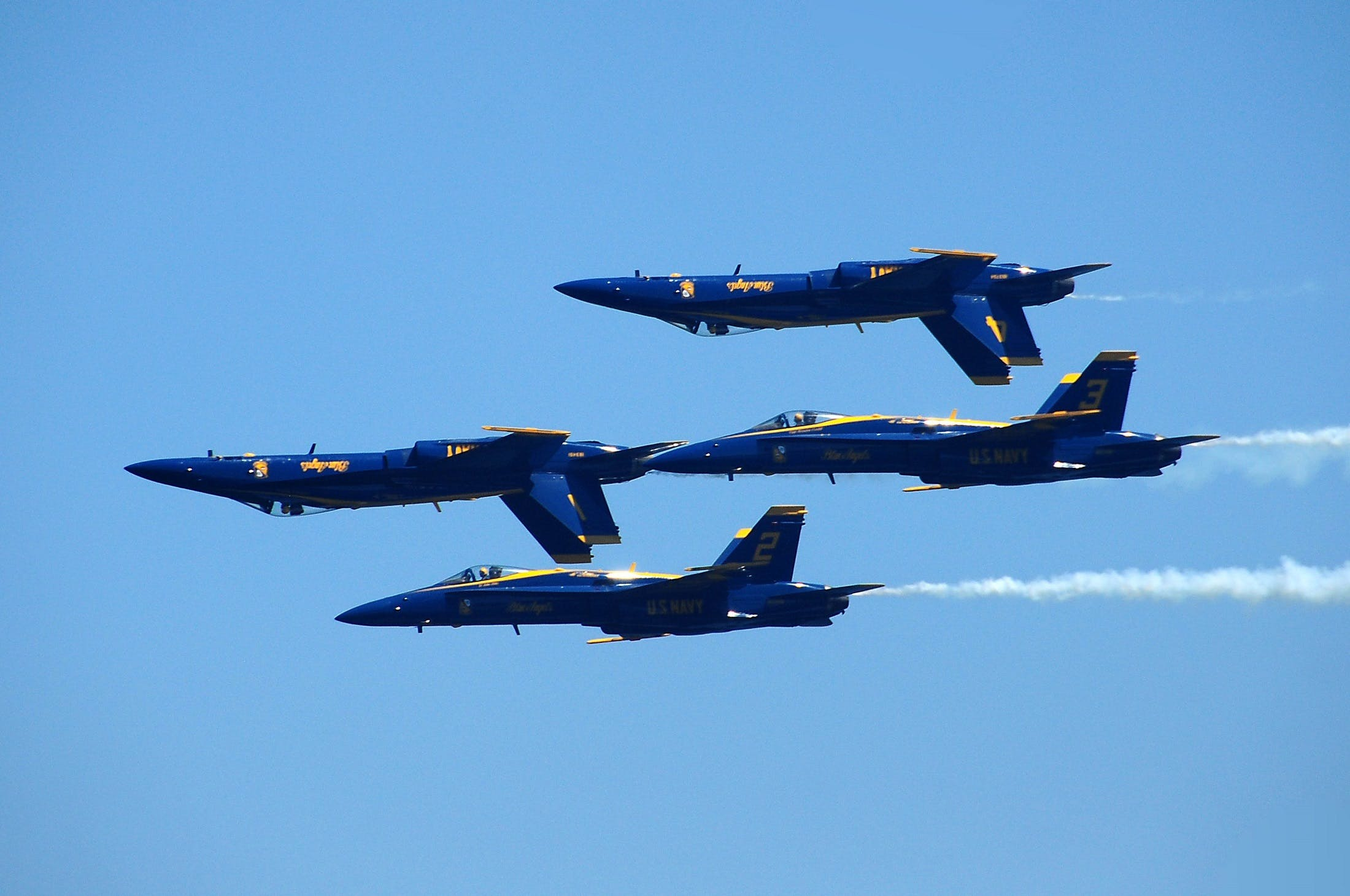 Four Blue Fighter Jets on Mid Air