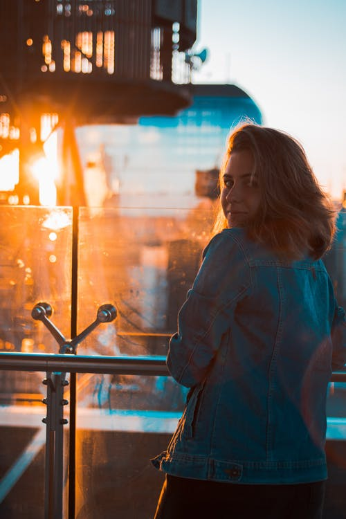 skyscraper, sunset, woman