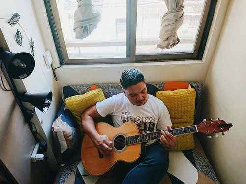 Free stock photo of 30–40 years old man, acoustic guitar, afternoon