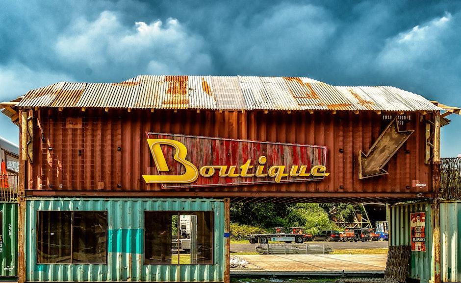 boutique, building, clouds