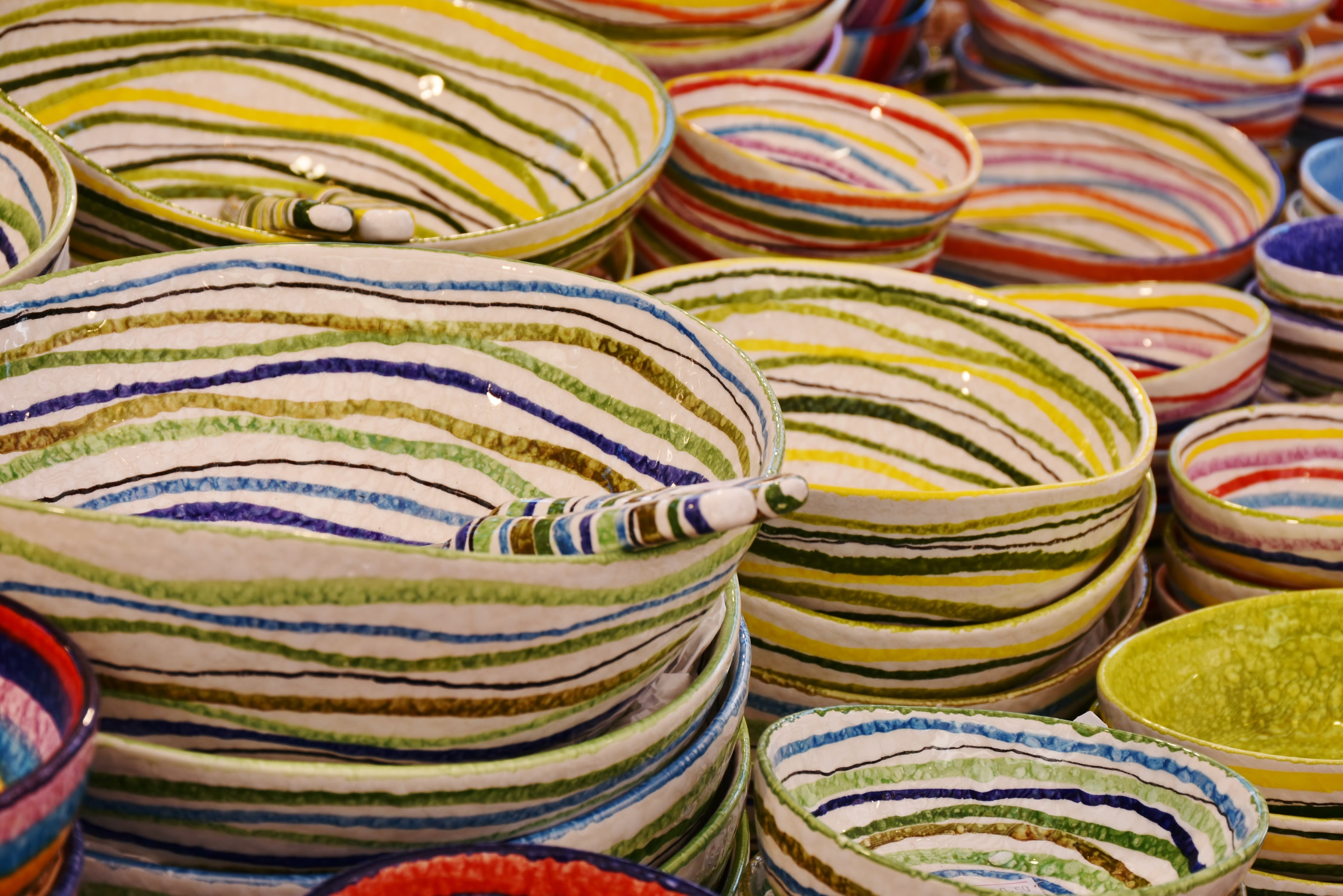 Free stock photo of plate, stack, colorful, shopping