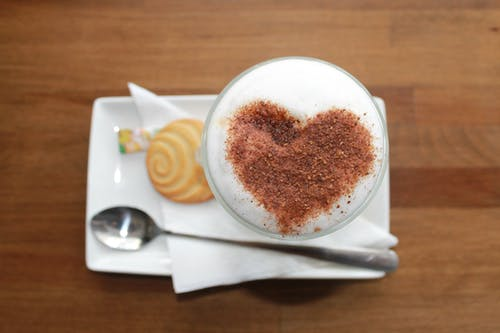 Heart Foam Art Beside Grey Spoon White Tray