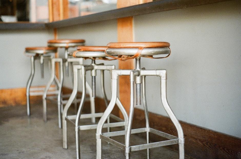 bar, old, stools
