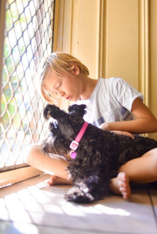 Foto profissional grátis de animal, cachorro, cachorro preto, criança