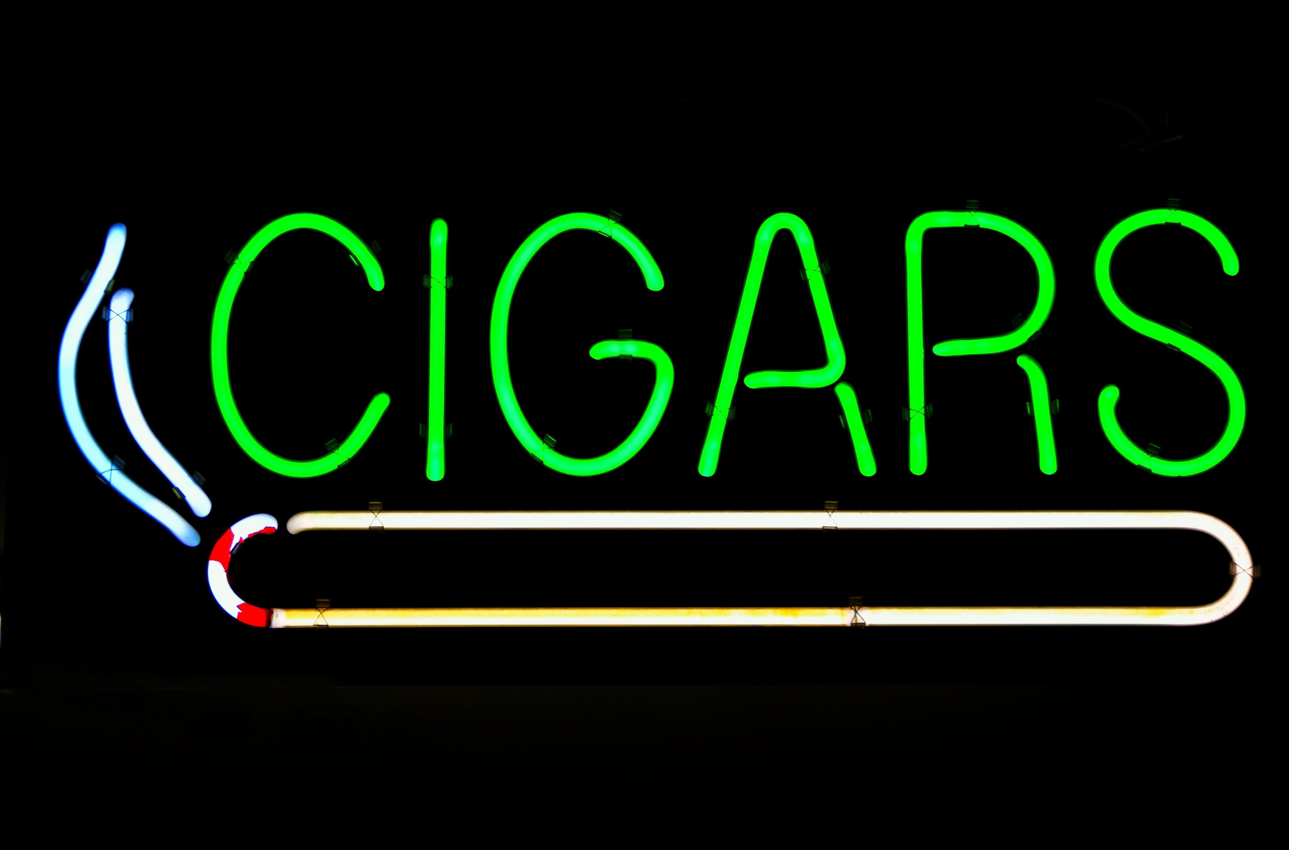 Free stock photo of light, sign, cigar, display