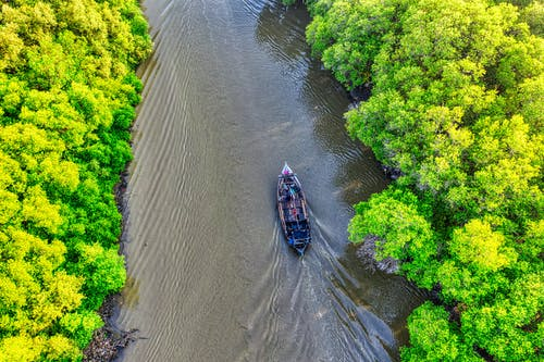 Aerial View Photo of Boat on River