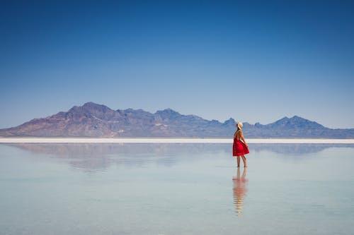 Kostnadsfri bild av berg, kvinna, landskap, lugn