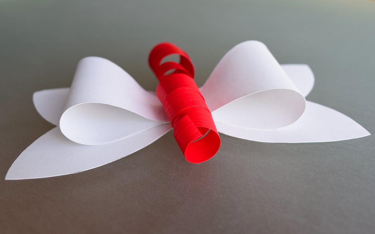 White and Red Ribbon Decor