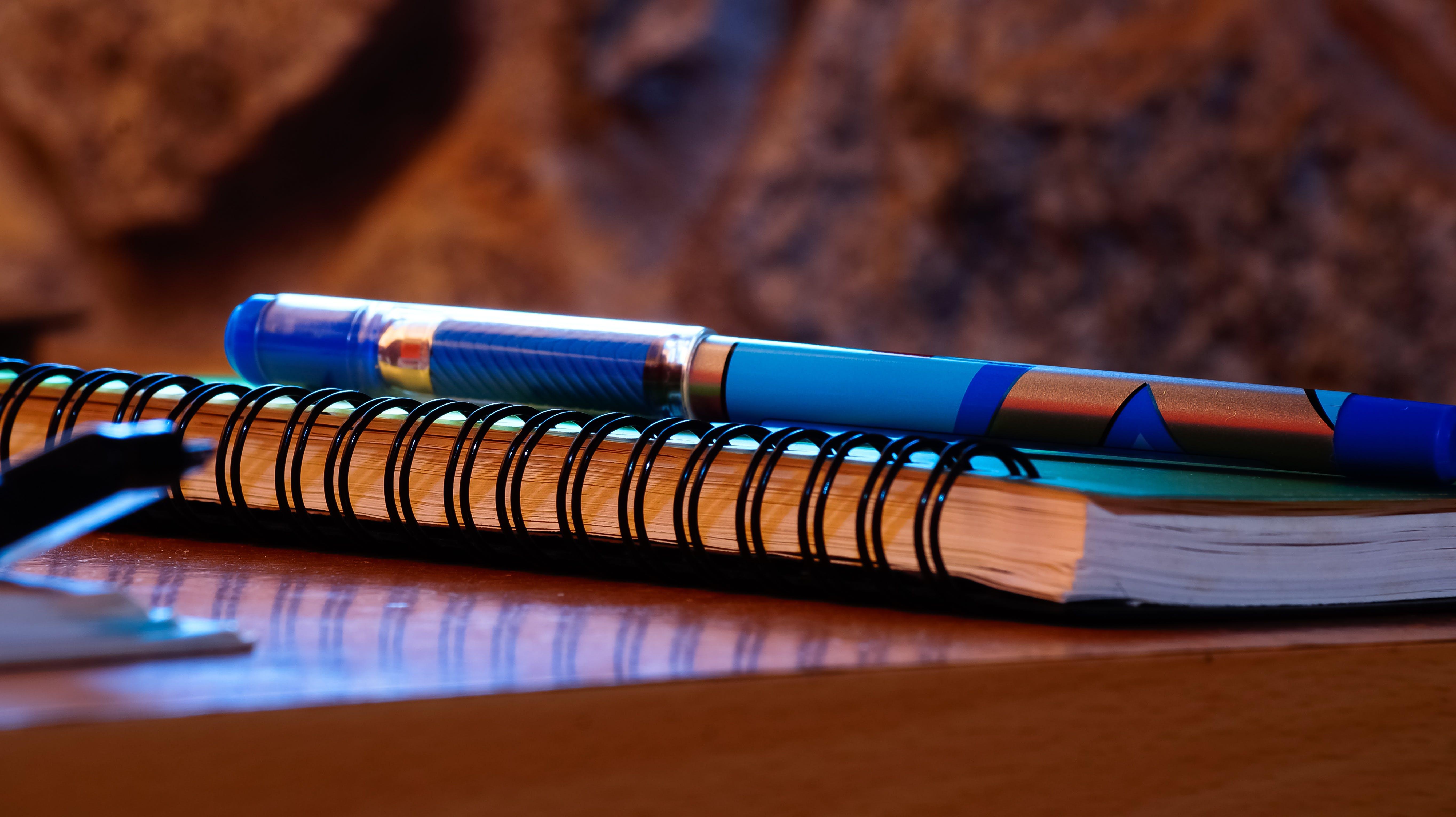 close-up, desk, notebook