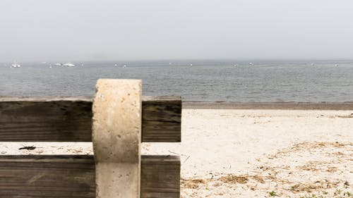 Free stock photo of beach, bench, fog, gray