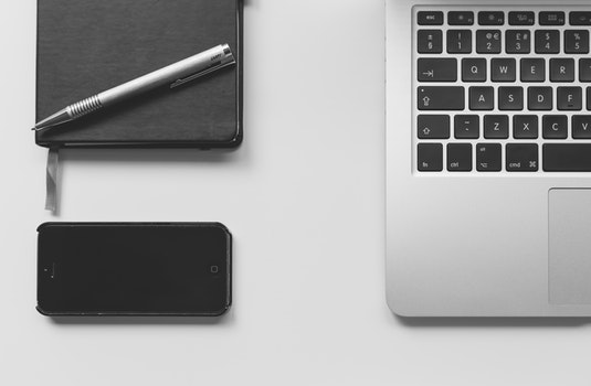Free stock photo of black-and-white, iphone, desk, laptop