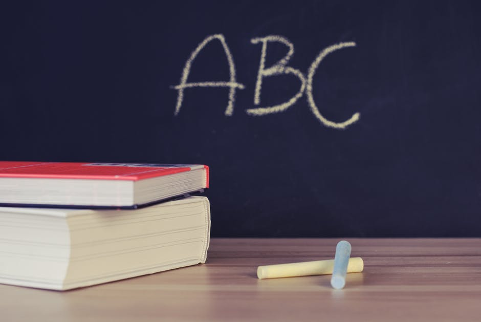 abc, books, chalk
