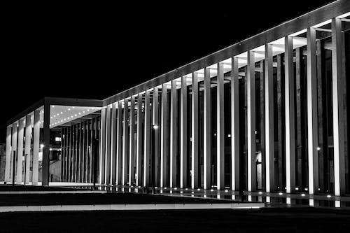 Darmowe zdjęcie z galerii z architektura, czarno-biały, noc, sony