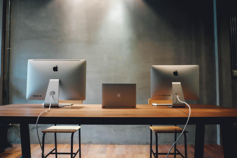 Free stock photo of apple, building, desk, laptop