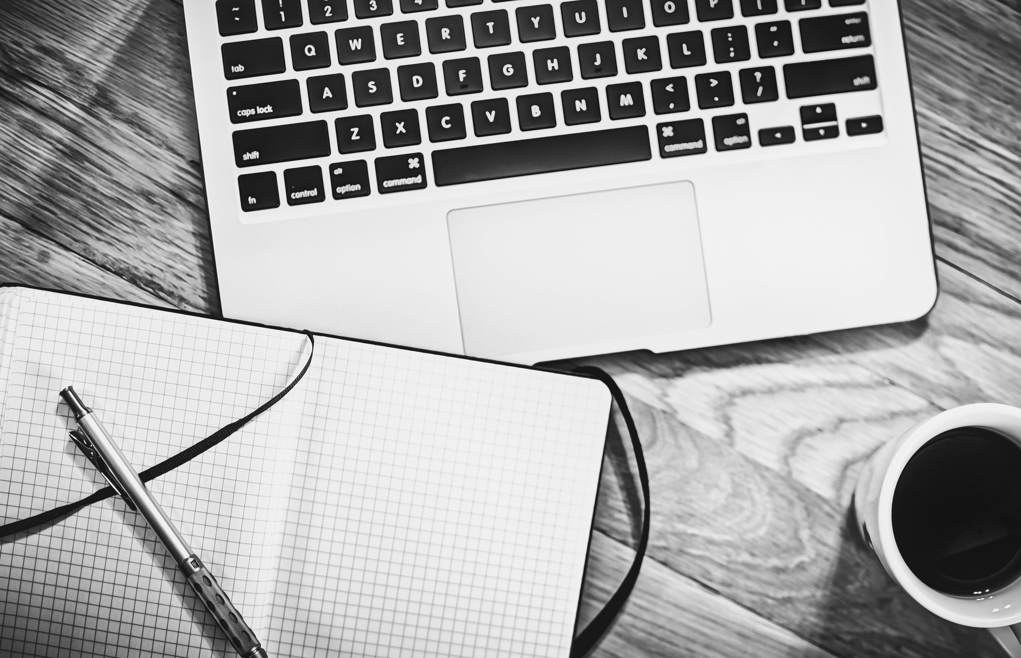 Free stock photo of black-and-white, coffee, desk, laptop