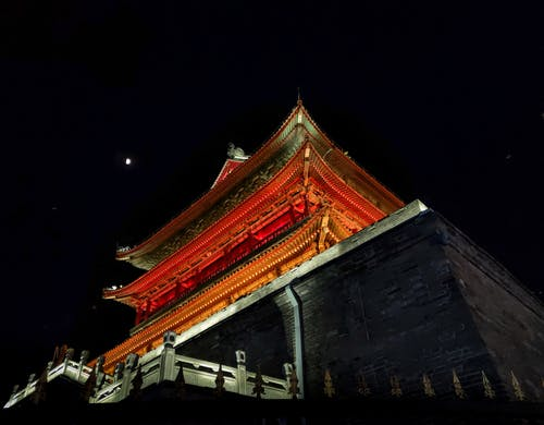 Low-Angle Photo of Temple During Nighttime