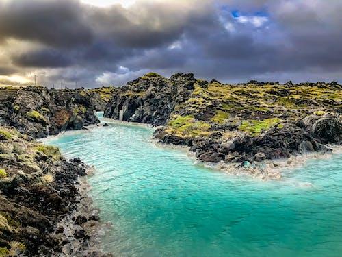 冰島, 多雲的天空, 漂亮, 藍色潟湖 的 免费素材照片