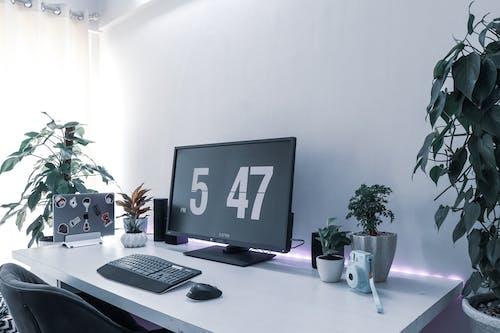 Free stock photo of camera, computer keyboard, desk, office