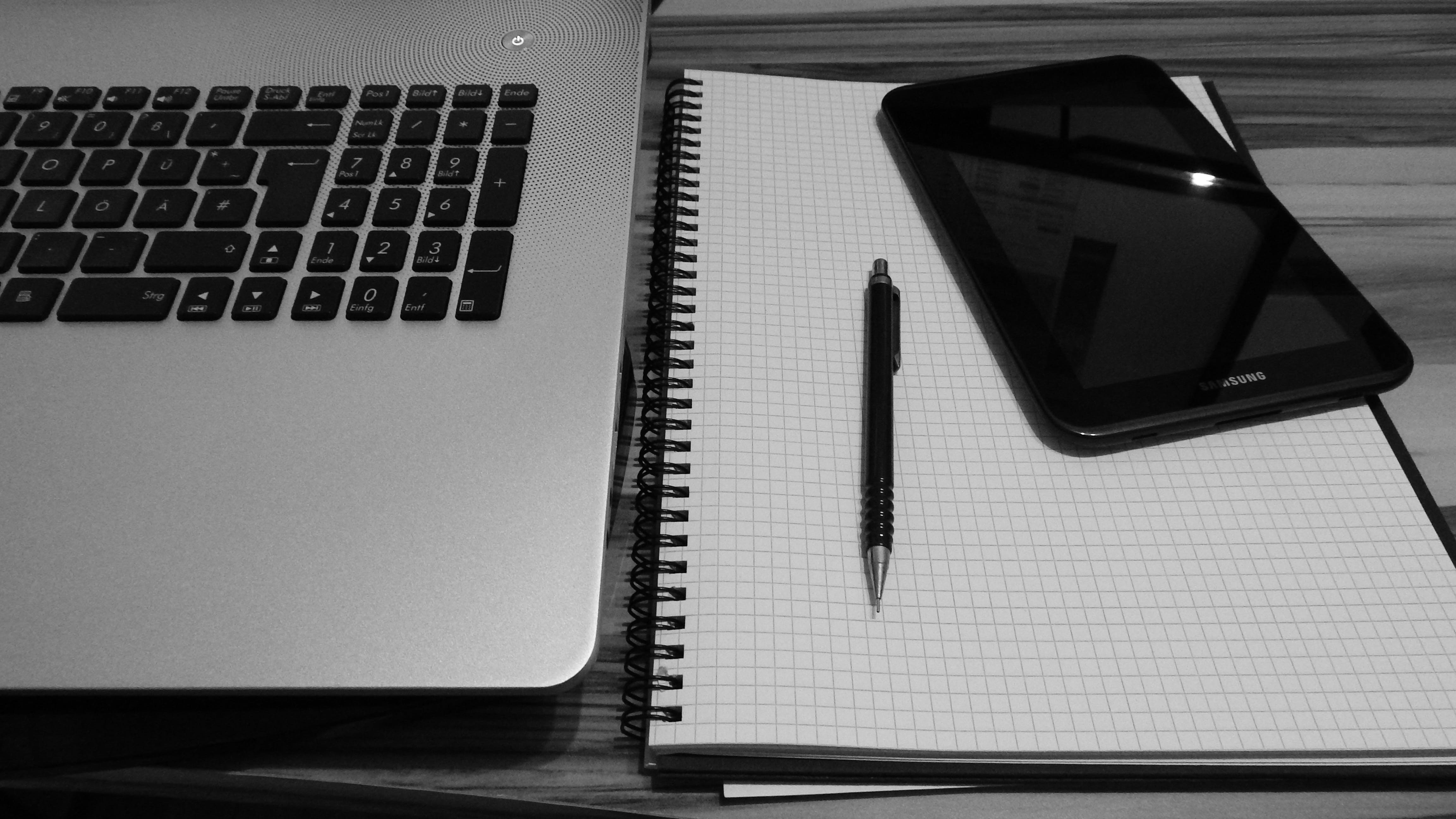 Free stock photo of black-and-white, laptop, notebook, pen