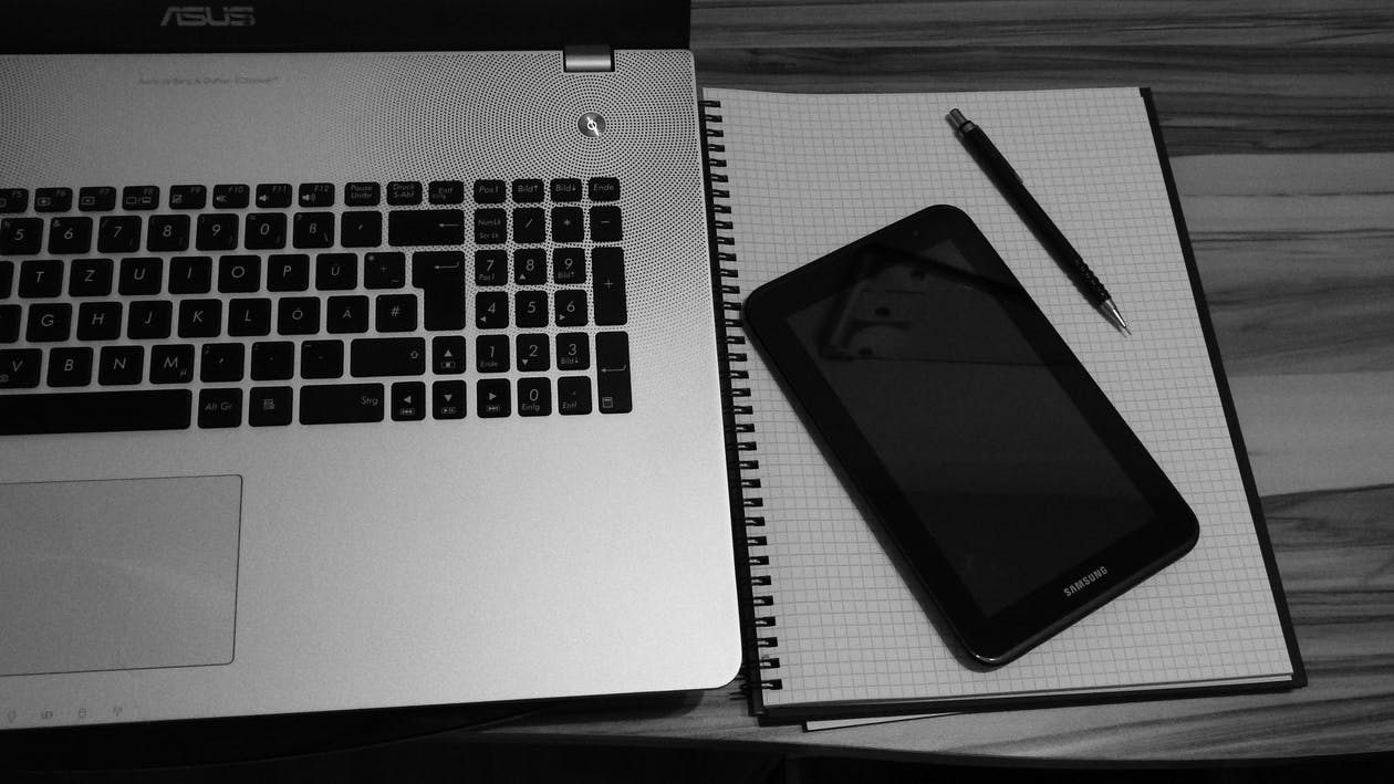 기술, 노트북, 블랙 앤 화이트