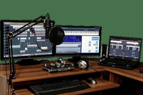 Three Black Computer Monitors